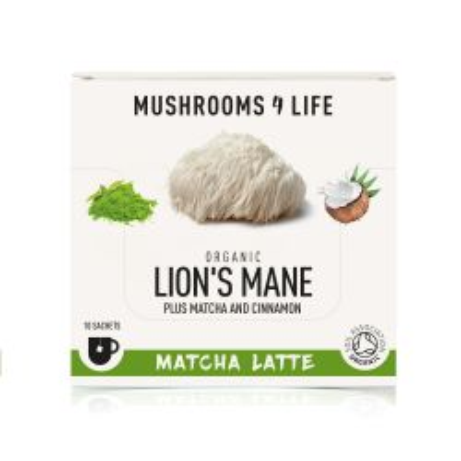 Mushrooms4Life Organic Lion's Mane - Matcha Latte Sachets 10 x 5.5g