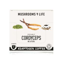 Mushrooms4Life Organic Cordyceps - Adaptogen Coffee Sachets 10 x 3.0g
